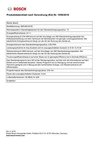 Bosch SMV46CX01E Serie 4 Vollintegriertgeschirrspüler / A+++ / 234 kWh/Jahr / 2660 L/jahr / InfoLight / rot - 3