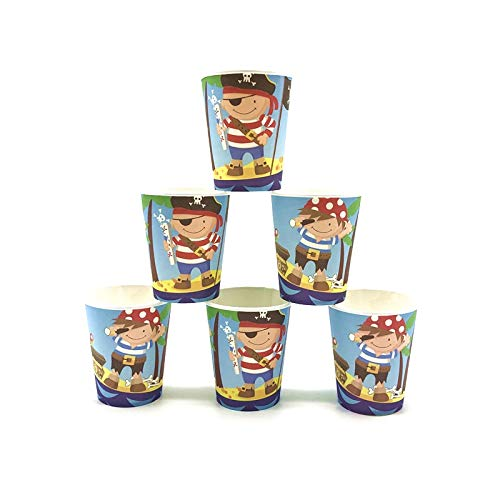 Kids Favor Cartoon Kleine Piraten Thema Junge Geburtstag Tasse Teller Serviette Ereignis Party Papier Geschenktüte Blowout Maske Tischdecke Versorgung, Cups-6Pcs