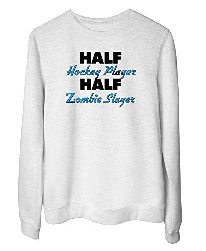 T-Shirtshock Rundhals-Sweatshirt fur Frau Weiss WTC1231 Half Hockey Player Half Zombie Slayer