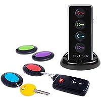 Buscador de llaves remoto JTD Buscador de llaves inalámbrico/Localizador de artículos de RF inalámbrico con linterna LED y base para teléfono celular Keys Pets (4 receptores, 1 control remoto, 1 base)