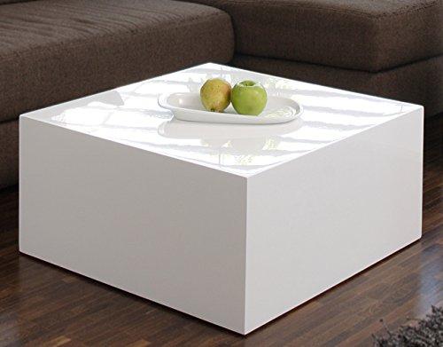 Couch-Tisch weiß Hochglanz quadratisch aus MDF 60x60cm quadratisch | Kuba | Moderner Wohnzimmer-Tisch weiss in schlichtem Design 60cm x 60cm (Tisch Mdf-quadratischer)