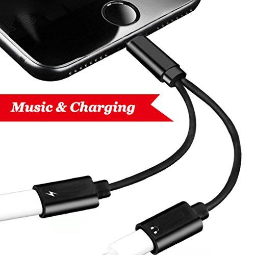 Lightning Jack Adapter Blitz Kopfhöreranschluss für iPhone X 10 / iPhone 8/8 Plus / iPhone 7/7 Plus. Lightning Jack Adapter & Splitter, Buchse Ladekabel für iPhone 8/8 Plus .Support Music + Ladegerät + Calling Audio Splitter Ladekabel Converter Unterstützt iOS 10.3 / 11 oder spätere Systeme (Apple Converter)
