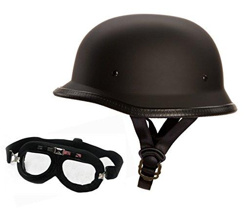 Oldschool Helm mit Fliegerbrille -Motorradhelm - Wehrmachtshelm - Halbhelm - Halbschalenhelm (XL, Mit Brille)