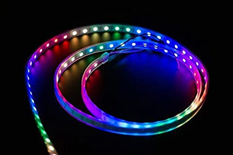 Angelelec DIY Open Sources, Digital RGB LED Weatherproof Strip 60 LED - (1M), Intelligent Control LED Light Source That The Control Circuit and RGB Chip ARE Integrated in a Package of 5050 Components