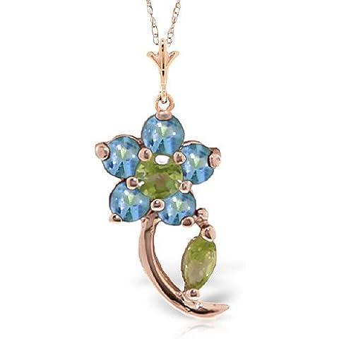 QP joyería Azul Natural topacio y circonitas colgante collar en 9ct oro Color de rosa - 0.87ct 4590R
