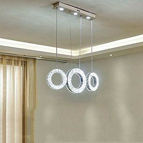 Yuyuan Light 3-Kopf gerade LED-Kronleuchter, einfache moderne Kristall-Deckenleuchte, Luxus-Luft-Edelstahl-Hängelampe, 3-Ring-Kronleuchter, Silber 24W