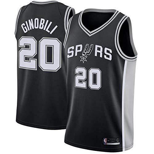 AKCHIUY Herren Basketball Trikot, Manu Ginóbili # 20 NBA San Antonio Spurs-Swingman Jersey Ärmelloses Shirt,Black-XL Manu Ginobili Nba