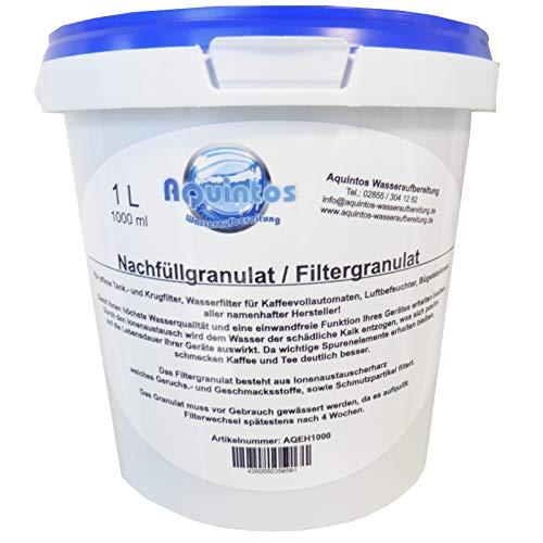 1 L Aquintos AQEH1000 Nachfüllgranulat - Filtergranulat - Ionenaustauscherharz - für offene Krug- und Tankfilter/alle Namhaften Kaffeemaschinen Hersteller
