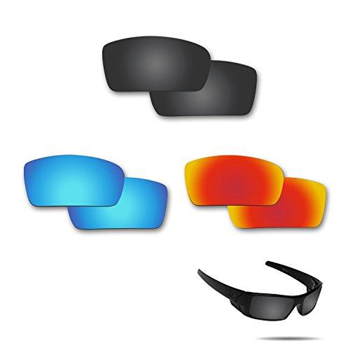 fiskr anti-saltwater Polarisierte Ersatz Gläser für Oakley Gascan 3Paar Pack, Stealth Black & Fire Red & Ice Blue