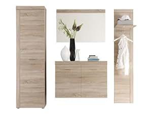 trendteam smart living Garderoben Set 4-teilig, eiche-sägerau hell, 222 x 195 x 35 cm
