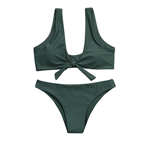 OverDose Frauen verknotet Padded Thong Bikini Mitte Taille Scoop Damen Badeanzug Bademode Strand Kleidung(A-Army Green,L) (Paisley-scoop)