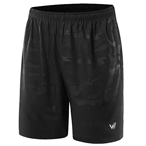 WHCREAT da Uomo con Pantaloncini da Running Tasche con Cerniera per Allenamento in Palestra XL