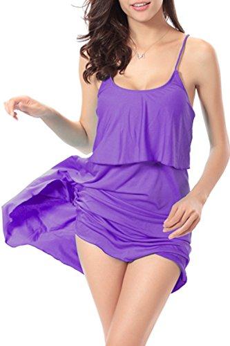 Sexy Halter des femmes Fake 2 morceaux Swing Beach Dress purple