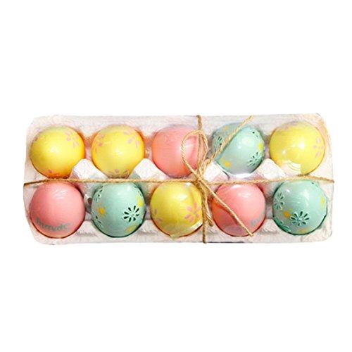 Ostereier 10 Sets Bemalte Eier Kunststoff Osterdeko Ostern Kunsthandwerk Dekoration Kinderspielzeug