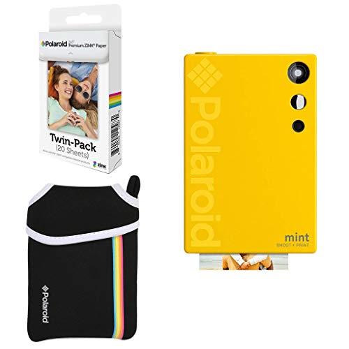 Polaroid Mint Digitale Sofortbildkamera (Gelb) Basispaket + Papier (20 Blätter) + Luxustasche