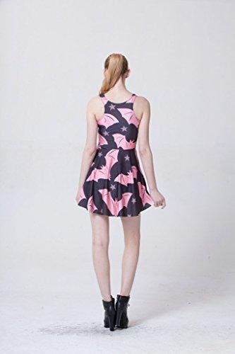 JTC Femme Robe Mini Sans Manches Motif d'Impression Grand Pan élastique chauve-souris/rose
