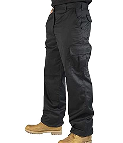 Mens Combat Cargo Work Trousers Size 30 to 52 With KNEE PAD POCKETS - By BKS (34 REG, Black)