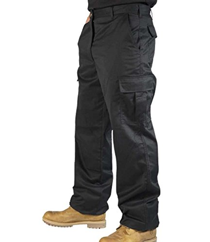 Mens Combat Cargo Work Trousers Size 30 to 52 With KNEE PAD POCKETS - By BKS (38 SHORT, Black)