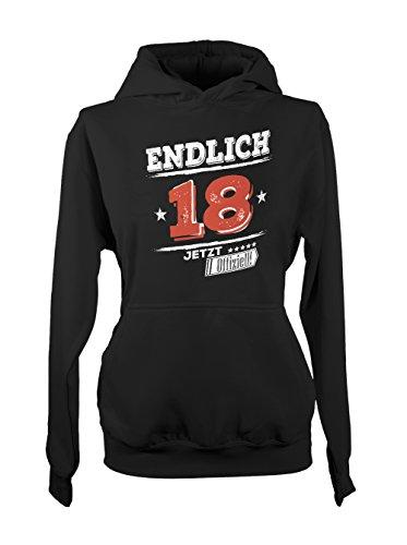 Endlich 18 Jetz Offiziell! Original Geschenk Zum 18 Geburtstag Damen Hoodie Sweatshirt Schwarz X-Large (Crew White Collection)