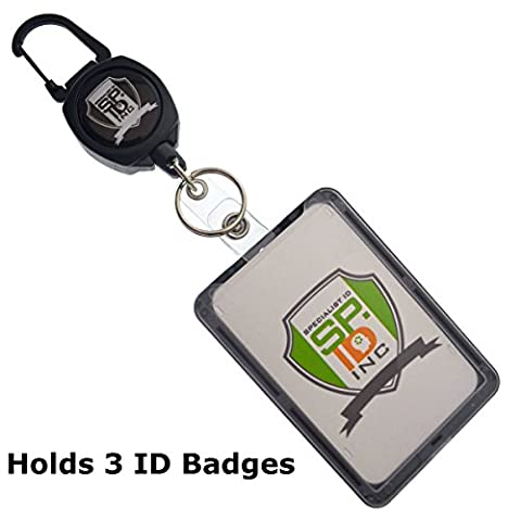Super Heavy Duty Carabiner Badge and Key Reel with THREE Card ID Badge Holder by Specialist ID (Sold Individually)