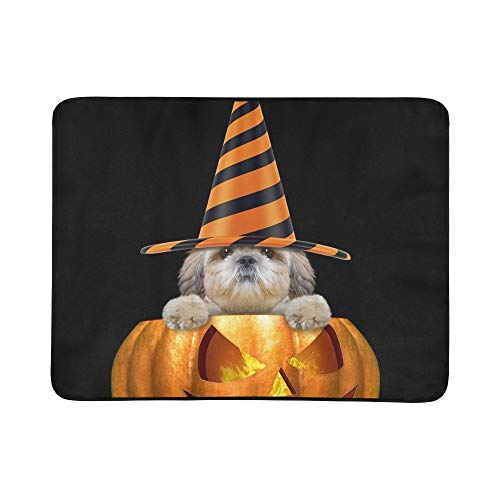 ustiger Hut, der Halloween sitzt Stockfoto Muster-tragbare und Faltbare Deckenmatte 60x78 Zoll-handliche Matte für kampierenden Picknick-Strand Innenreise im Freien ()