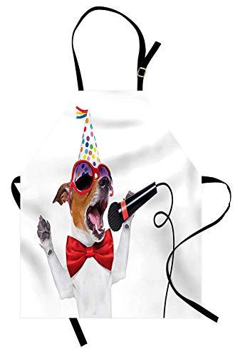 Popstar Party Schürze, Jack Russel Hund mit Sonnenbrille Partyhut und Bowtie singen Geburtstagslied, Unisex-Küchenschürze mit verstellbarem Hals zum Kochen Backen Gartenarbeit, Multicolor