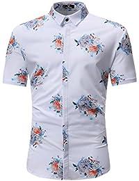 URSING Herren Blumen Baumwolle Freizeit Regular Fit Button Down Kurzarm Hemd  Hawaiishirt Herrenhemden Leinenhemd Strandhemd Freizeithemden 432ddcf100