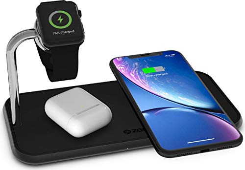 ZENS Qi-und MFi-zertifiziertes kabelloses Aluminium 3fach-Ladegerät für zwei Geräte + Apple Watch, Fast Charging für Apple iPhone Xs/Xs Max/Xr/X - Funktioniert mit allen Geräten mit kabellosem Laden (Wireless G3 Charger Dock Lg)