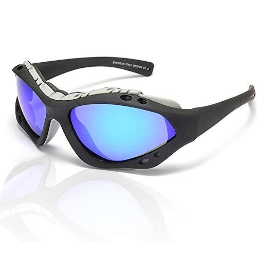 erhuo Skibrille explosionssichere Winddichte Sonnenbrille im Freien Reitbrille Motorrad Sportbrille, blau