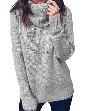 Fasumava Suéteres Jersey Cuello Alto Talla Grande Casual Invierno Tops Tejidos para Mujer