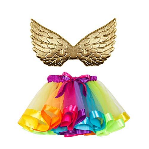 TENDYCOCO Tutu Rock geschichtet Ballett Mesh Tüll Rainbow Dance Rock Tüllrock Kleid Rüschen Tiered Tutus mit Flügel für Party Bankett Stage Performance