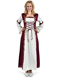 Medieval Costume - Long Sleeved Dress Saphiria With Hood - Natural/Red