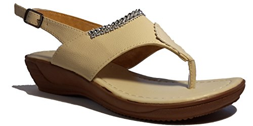 Sexy sandales femmes, tongs flip flop pour l été et les vacances, beige, marron, blanc, bleu, rouge, noir-or, rosé-rouge ou léopard, modèle 11064105006001, différents modèles et tailles. Beige avec des bijoux.