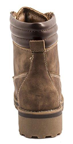 Elara Warm Gefütterte Stiefeletten | Profilsohle Schnürrer | Worker Boots |chunkyrayan Khaki gefüttert