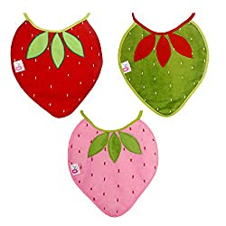 0Month+ Soft Cotton Toddler Baby Strawberry Bibs Pack of 3
