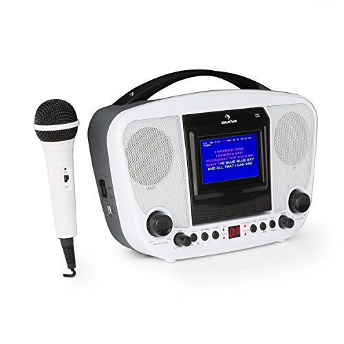 AUNA KaraBanga - Kinder Karaoke Anlage Set , Karaoke Player , Karaokeanlage , Bluetooth , 1 x dynamisches Mikrofon , CD+G-Player , Video-Ausgang , Audio-Ausgang , Batterie-Betrieb , weiß
