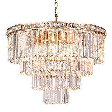 WJFXG Kronleuchter Kristall Pendelleuchte Ambient Light Painted Finishes Metall 110-240V E12 / E14 Für Wohnzimmer Schlafzimmer Küche Esszimmer, 60 X 60Cm
