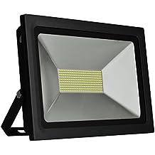 Solla® Foco proyector LED 100W para exteriores, blanco diurno 6000K, 8800lm, resistente al agua IP65, luz amplia, luz de seguridad