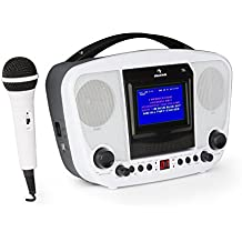 auna KaraBanga • Sistema karaoke • Karaoke per bambini • Lettore karaoke • Set • Bluetooth • 2 microfoni dinamici • lettore CD+G • uscita video • uscita audio • Funzionamento batteria • Bianco
