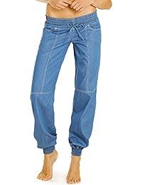 Bestyledberlin Damen Pluder-Jeans Loose Fit, Aladinhose tiefer Bund, Baumwoll Pumphose hüftig