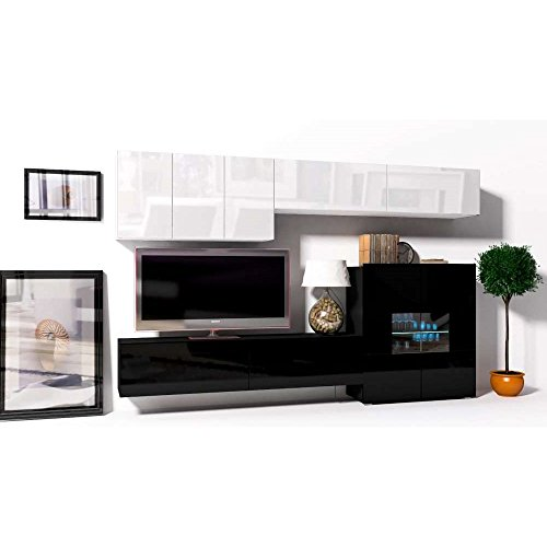 JUSThome Onyx VII C LED Wohnwand Anbauwand Schrankwand Weiß Matt | Schwarz Hochglanz