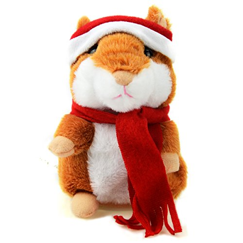 Color You Talking Hamster Repeats What You Say Electronic Pet Talking Plush Buddy Mouse for Kids, with Christmas Hat & Christmas Scarf, 3 x 5.7 inches (with Hat and Scarf)
