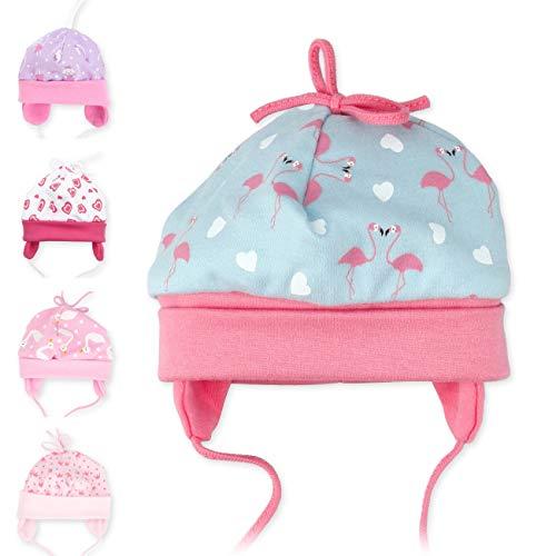 Baby Sweets Baby Mütze Mädchen türkis rosa | Motiv: Made with Love | Babymütze zum Binden für Neugeborene & Kleinkinder | Größe: 6-9 Monate (74)...