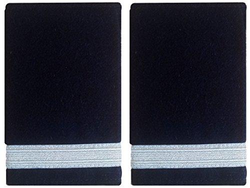 Schulterklappen, Epauletten, 1 weißer Streifen auf Schwarz, für Piloten, Marine, 1 Paar. Marine-pilot