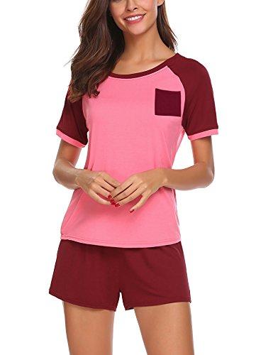 HOTOUCH Damen Schlafanzug kurz Baumwolle Shorty 2-tlg. pyjama Set Nachtwäsche Kurzarm Shirt Shorts Rot M