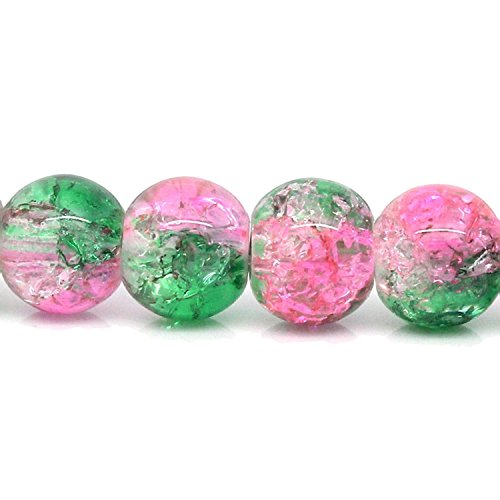 Charm Buddy 100 x Pink & Green Glass Crackle Beads8mm