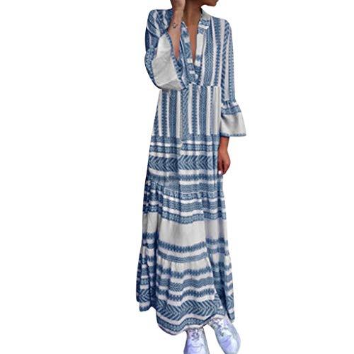AZZRA Frauen Plus Größe Sommer V-Ausschnitt gedruckt Urlaub Lange Flare Ärmel Maxi-Kleid Damen ärmelloses beiläufiges Strandkleid Tank Kleid ausgestelltes trägerkleid Neckholder