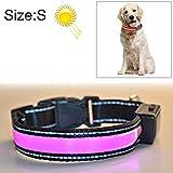 Haoweiwei Halsumfang Medium und Large Dog Pet Solar + USB-Lade-LED-Lichtkragengröße: S 35-40cm (Farbe : Rosa)