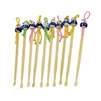 sourcingmap® 10 x Cartoon Doll Decor Bamboo Earpick Ear Earwax Remover Tools