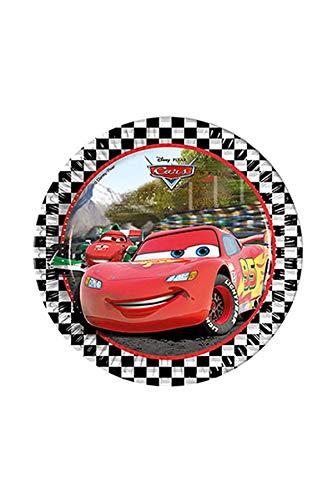 Ciao Procos 87103–Lot de 8 Assiettes en Carton Cars, 23cm de diamètre, Multicolore
